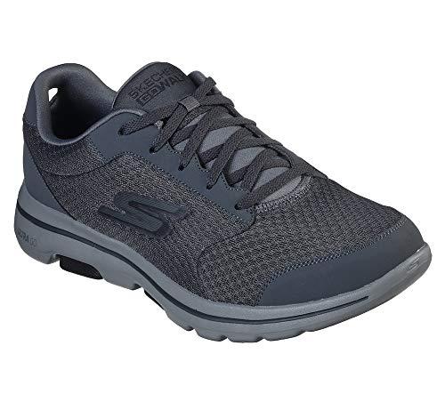 Skechers Men's Gowalk 5 Qualify-Athletic Mesh Lace Up Performance Walking Shoe Sneaker, Charcoal/Black, 15 M US