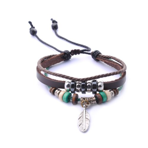 Morella Damen Armband aus Leder mit Perlen und Feder Anhänger