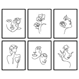 Whaline 6 Pack Minimalist Line Art Prints 8 x 10 Inch Abstract Single Line Wall Art Poster Waterproof Black White Female Face Flower Aesthetic Drawing Paintings for Bedroom Living Room College Dorm
