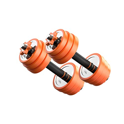 A Set of 2 Dumbbells with PVC Rubber Ring Padded Handle Adjustable Weight 20KG Household Stainless Steel Barbell Fitness Equipment (Color : Orange)