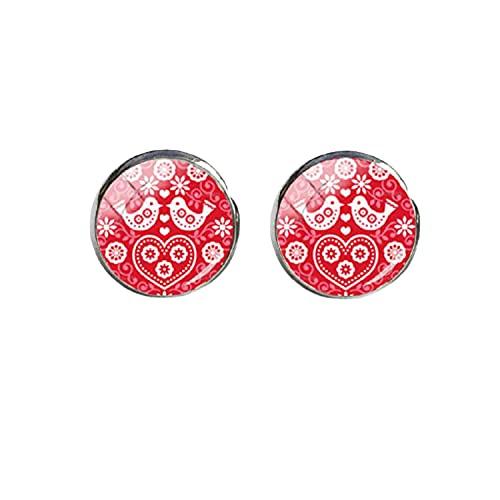 Nuevos patrones de arte popular polaco pendientes pendientes pendientes de cristal de cristal de la oreja de los pendientes de la foto del cabujón de la