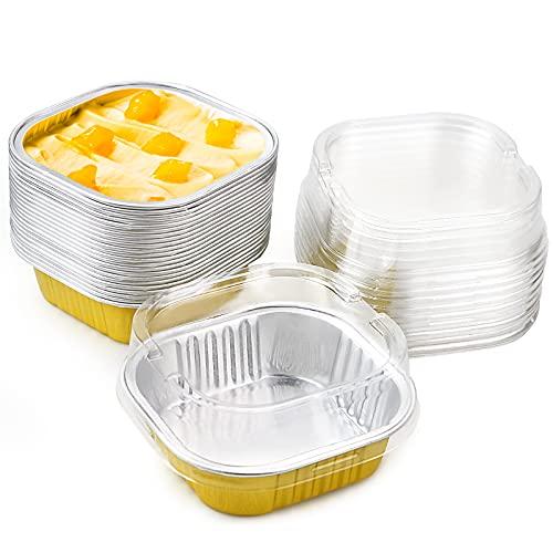 WTSHOP 50 Pcs 130ml Square Baking Cups with Lids, Pudding Dessert Aluminum Foil Cups(Gold)
