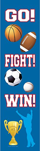 24 Sports Bookmarks for Kids - Basketball, Baseball, Soccer, Football Design - Colorful Two Sided Glossy - Birthday Party Supplies - Reading Incentives - School Student Prizes (Blue Sports)