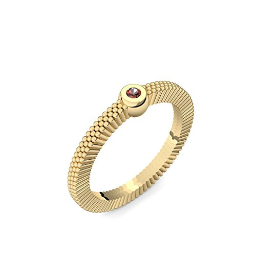 Goldring Granat 585 + inkl. Luxusetui + Granat Ring Gold Granatring Gold (Gelbgold 585) - Love Breeze Amoonic Schmuck Größe 56 (17.8) AM157 GG585GRFA56