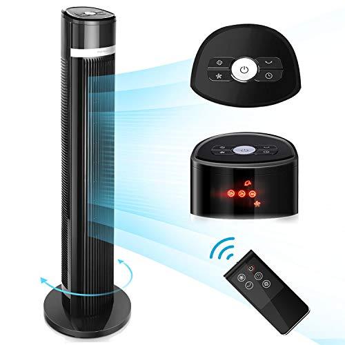 Aigostar Ross– Ventilador de Torre Digital, mando a distancia, pantalla LED, 3 Velocidades, 3 Modos, Temporizador programable 7 horas, oscilante silencioso, 103 cm, Color Negro