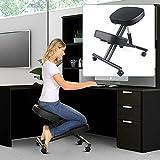 Silla ergonómica para rodillas y taburete ajustable en altura con ruedas, para casa y oficina, silla antidolor de espalda para una postura óptima con asiento acolchado suave
