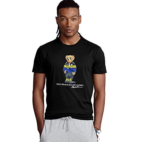 Polo Ralph Lauren Camiseta Custom Slim fit Polo Bear (XL, Negro)