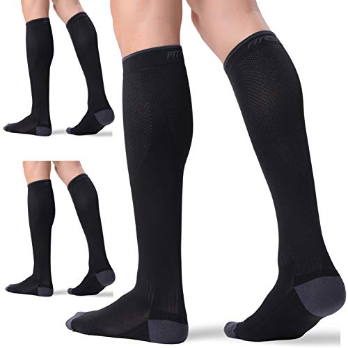 3 Pairs Compression Socks for Women and Men 20-30mmHg-- Circulation and Muscle Support Socks for Travel, Running, Nurse, Medical BLACK S/M