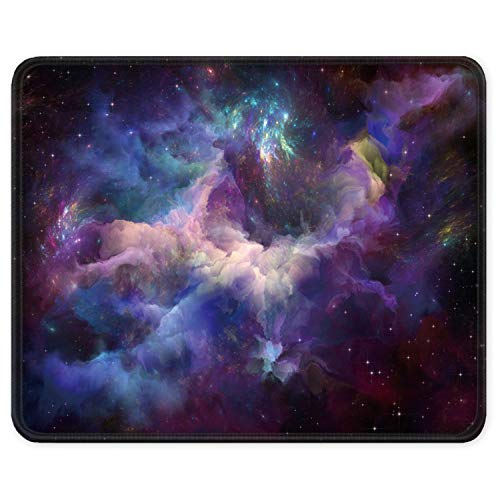 ITNRSIIET Gaming Mouse Pad with Stitched Edges, Premium-Textured Mouse Mat Pad, Non-Slip Rubber Base Mousepad for Laptop, Computer & PC, 10.2×8.3×0.12 inches, Galaxy
