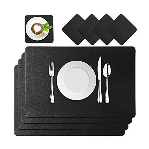 BaoWnylz Platzsets Leder Tischset PU Kunstleder Platzdecken Schwarz 4er Sets Abwaschbar Wasserdicht 45x30cm und Quadratischer Glasuntersetzer für Hause Küche Restaurant