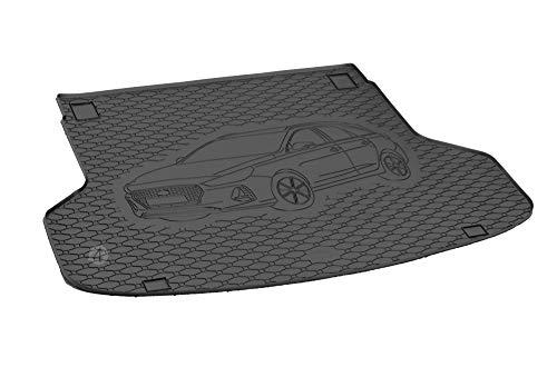 Passgenau Kofferraumwanne geeignet für Hyundai i30 SW/Kombi 2017-2019 ideal angepasst schwarz Kofferraummatte + Gurtschoner