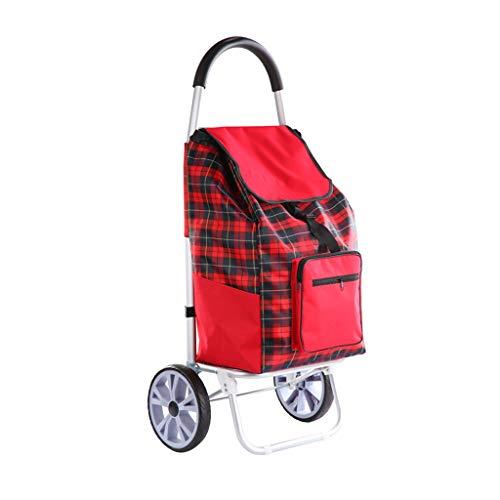 Dessertes Caddie Pliant Caddie Petit Pull Sac De Chariot Portable Caddie en Aluminium Rouge À La Main Pousser Le Sac (Color : Red, Size : 100 * 36 * 20cm)