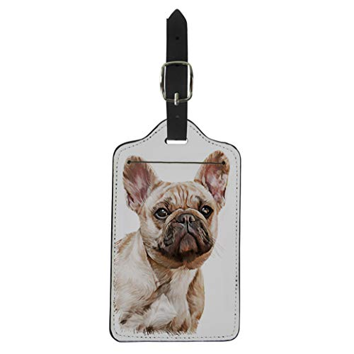 Semtomn Luggage Tag Brown Drawing Dog French Bulldog Portrait Oil Painting Suitcase Baggage Label Travel Tag Labels