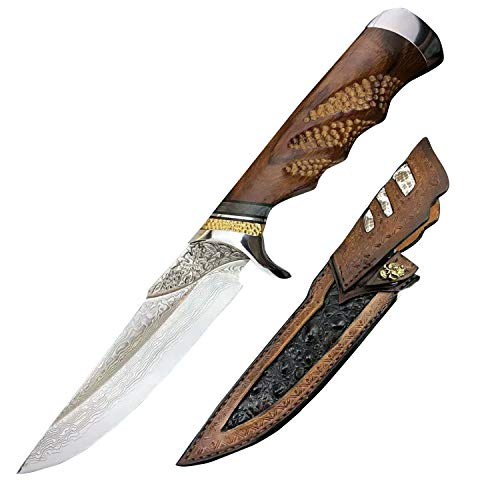 Damascus Knife 10.8', Fixed Blade Knife, Survival Knife, Japanese Steel and Sneak Leather Leather Sheath, Rosewood Handle, Full Tank Blade, Hunting Knife, Handmade Knife, Handcrafted Knife