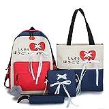 Ocobudbxw 4pcs Mochila Escolar de Lona Mochila con Cinta Bolsos de Hombro Bolso Estuche para lápices Set