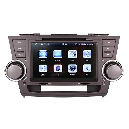 8 Inch Touchscreen Monitor Car GPS Navigation System for Toyota Highlander 2008 2009 2010 2013 2014 Car Stereo DVD Player +Radio +Bluetooth +Steering Wheel Control+Sd/USB+AUX in+Free Backup Camera