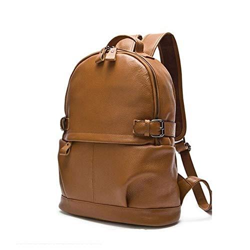 WENQU Boga Hombres Mochila de Cuero Bolsas de Gran Capacidad Superficial Viaje Mochila Tendencia de la Moda Bolsa de Moda Mochila for los Hombres (Color : Brown, Size : S)