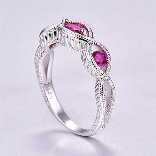 QiXuan 925 Silver Ring Marquise Cut Rainbow Topaz /& Ruby Gemstone Valentine Gift