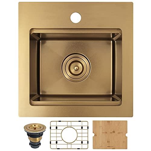 MONSINTA Gold Bar Sink, Top Mount Bar Sink, 15