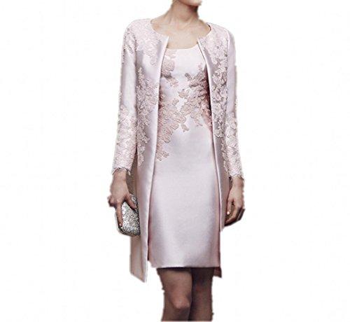 Charmant Damen 2019 Neu Hell Rosa Satin Abendkleider Partykleider Ballkleider mit lang Bolero Knie-lang -42 Hell Rosa