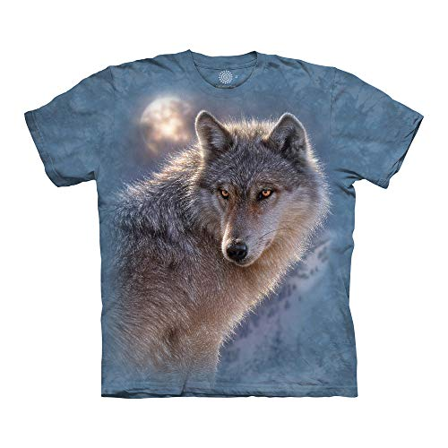 The Mountain Adventure Wolf Adult T-Shirt, Blue, Large