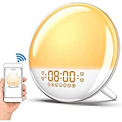 Wake Up Light Sunrise Alarm Clock, Smart WiFi Sunset Simulation Digital LED Clock Supports APP Control with FM Radio,4 Alarms,7 Alarm Sounds, Snooze Function,20 Brightness,7 Colors Bedside Night Lampe