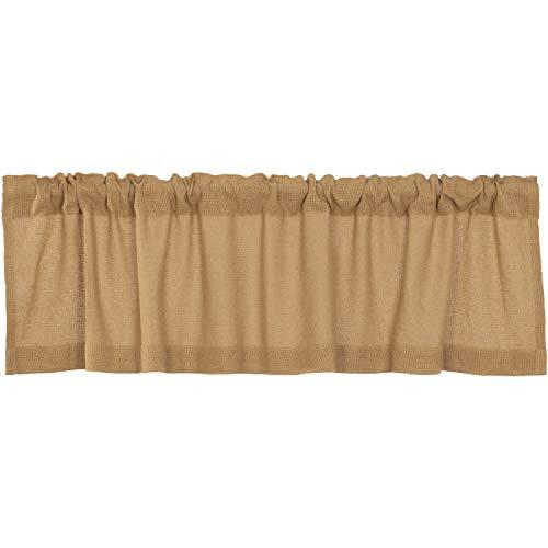 VHC Brands Burlap Natural Curtain, Valance 16x60, Tan