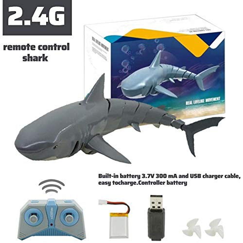 PITCHBLA 2020 New Remote Control Boat Kits, 2.4G Simulation Shark Boat Toy, Submarines Ship RC Boats for Pools and Lakes Bath, Water Fun Toy, Kids Best Gift, Rechargeable