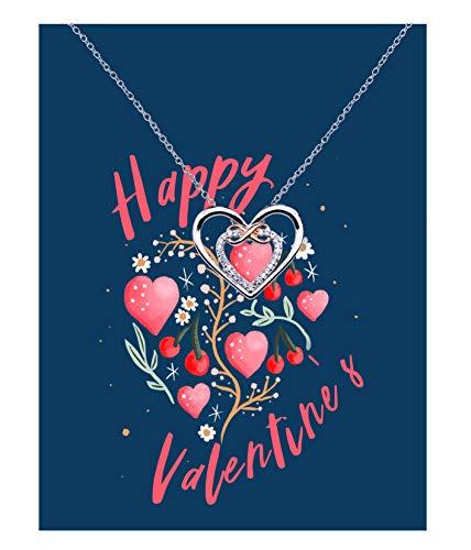 Hart Ketting - Happy Valentine's zilveren ketting met boodschappenkaart | Hartvormige zilveren en roségouden zirkoon ketting, Valentijnsgeschenk voor vriendin vrouw vrouwen