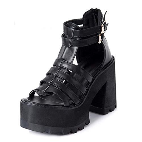 Sandalias De Tacón Grueso para Mujer Gladiator Hollow out Peep Toe Platform Tacones Altos Summer Fashion Hebilla Correa Rome Fish Mouth Punk Shoes