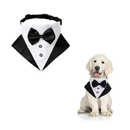 WANDIC Hund Smoking Bandana Halsband, 1 Stück Verstellbar Formale Hund Hochzeit Bandana Haustier Hochzeit Anzug Fliege Bandana mit D-Ring für Kleine Mittlere Hunde
