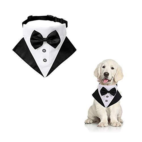 WANDIC Bandana de Esmoquin para Perro, 1 Pieza Ajustable Formal para Boda, Bandana para Perro, Traje de Boda, Bandana con Anillo en D para Perros pequeños y medianos