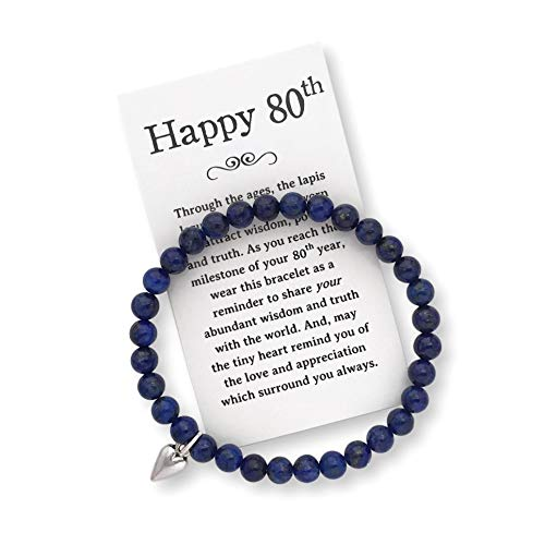 80th Birthday Gift for Women - 80th Jewelry Bracelet with Box, Bow and Card