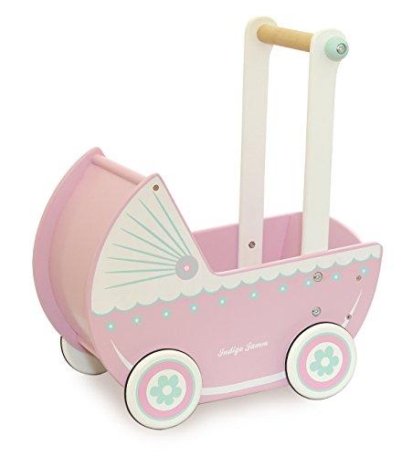 Indigo Jamm poppenwagen van hout retro design speelgoed kinderwagen vanaf 18 maanden plus met rubberen wielen - Loxhill Pink
