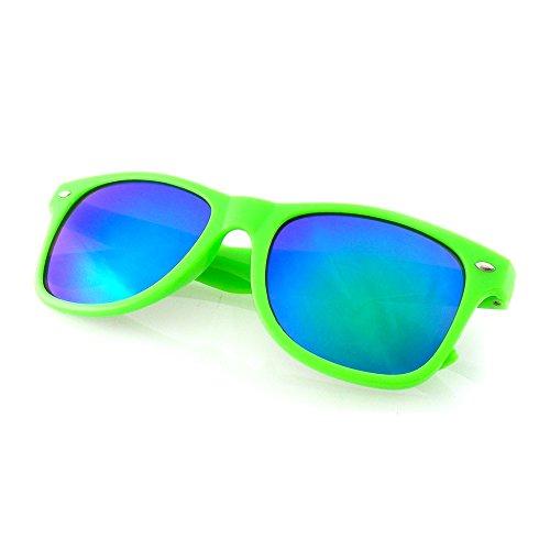 Mirror Lens Neon Frame Wayfarer Style Sunglasses with Reflective Lens