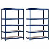 7H SEVEN HOUSE Pack 2 Estanterías Modulares Azul con 5 Baldas Ajustables...