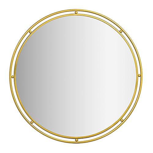 KUWD Einfacher Moderner Badezimmerspiegel, Wandspiegel, Dekorativer Goldspiegel, Schmiedeeisenrahmen, Rundes Design, Silberner HD-Spiegel, Gold, Geeignet Für Bad, Wohnzimmer, Schminktisch, Ankleidez