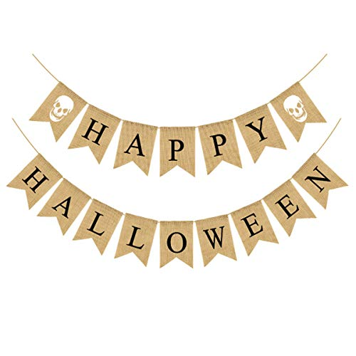 HLHXMWXY Happy Halloween Burlap Banner Garland Ghost Bunting Banner For Halloween Skull Party Decorations-Black Skull
