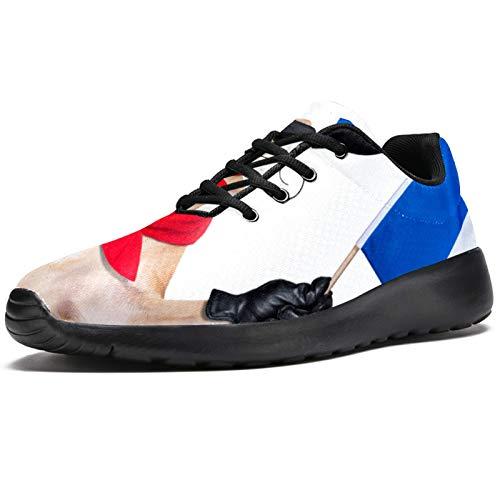 Zapatillas deportivas para correr para mujer Bulldog francés con boina de vino tinto sombrero de moda zapatillas de malla transpirable caminar senderismo tenis tenis, color, talla 41.5 EU