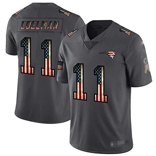 # 11 Julian Edelman Herren American Football Trikot, Rugby Sportswear, American Football Jersey T-Shirt-Black-XXXL(195~200)