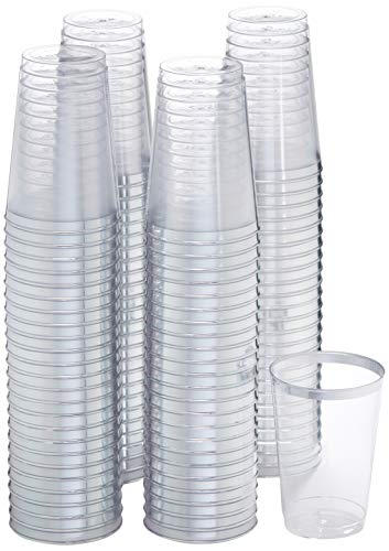 100 Count Hard Plastic 12-Ounce Party Cups/Old Fashioned Tumblers Ideal for Home, Office, Bars, Wedding, Bridal and Baby Shower, Birthday, Retirement, Anniversary, party (Silver)