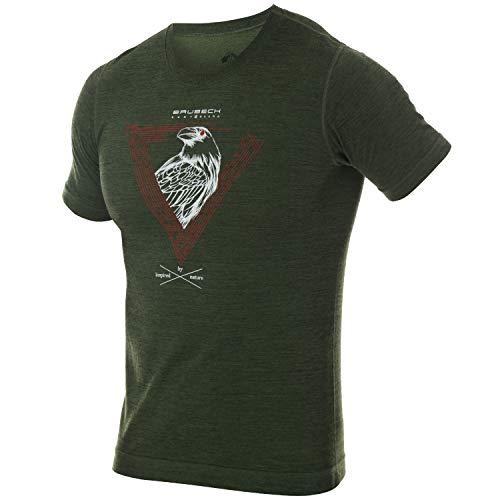 BRUBECK Trekking T-Shirt Herren | Funktionsshirt Outdoor Männer | Wandershirt cool | Short Sleeve Shirt Hiking | Kurzarmshirt mit Aufdruck | 27% Merino Wolle | Gr. M | Gr. D. Grün | SS12650A