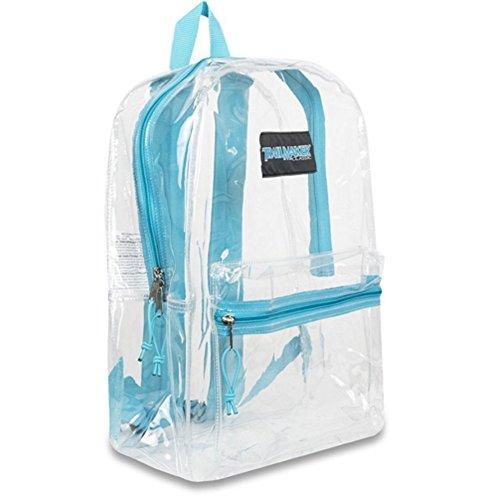 "Trailmaker Girls Aqua Padded Straps Classic Clear Backpack 15""x10.6""x5"""