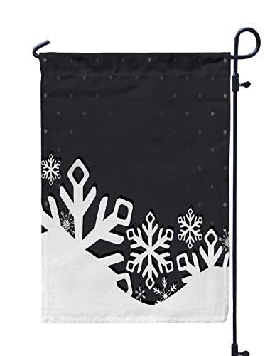UIJDIAm Welcome Garden Flag Home Yard Decorative 12X18 inches Christmas Garden and New Year Greeting Card with Snowflakes Double Sided Seasonal Garden Flags,Orange Gold