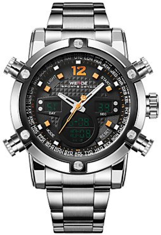 Fashion Watches WEIDE Men Luxury Sport Watch Double Time LCD Waterproof Stainless Steel Wristwatch