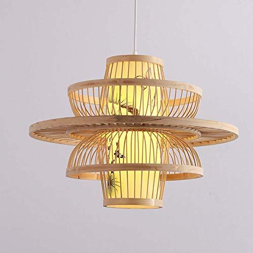 SYyshyin Lámpara de araña de bambú creativa para restaurante o sala de té, cama de bambú, para dormitorio chino, 350 mm de diámetro, 500 unidades