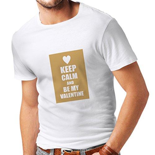 lepni.me Camisetas Hombre Keep Calm and be my Valentine - Regalos de San Valentín - Te Amo Citas (XXXX-Large Blanco Oro)
