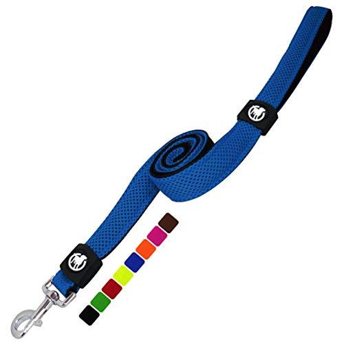 DDOXX Hundeleine Air Mesh 120 cm   Hand-Schlaufe   für kleine & große Hunde   viele Farben & Größen   Leine Hund   Führ-Leine klein   Lauf-Leine Welpen-Leine groß   Blau, XS