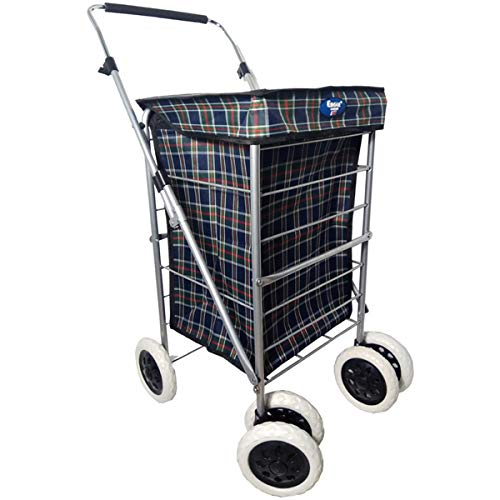 Einkaufstrolley mit 4 / 6 Rädern, robust, mit Rollen, 60 l, dunkelmarineblau