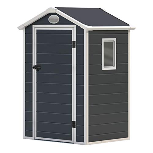 Charles Bentley Plastic Storage Shed 4.4ft x 3.4ft Grey Small Roof Outdoor Garden Tall Box Store Tools